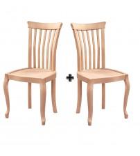 Masifart Avesen Kontralı Salon Sandalyesi 2 li Cilasız Ham Ahşap 4519