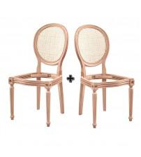 Masifart Gyptus Hasırlı Tornalı Sandalye 2 li Cilasız Ham Ahşap 4538