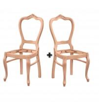 Masifart Putridus Klasik Oymalı Sandalye 2 li Cilasız Ham Ahşap 4544