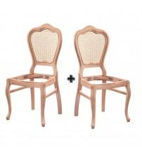 Masifart Quan Hasırlı Klasik Sandalye 2 li Cilasız Ham Ahşap 4546
