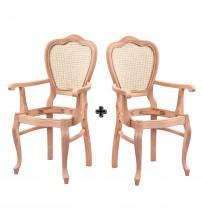 Masifart Sapo Hasırlı Klasik Kollu Sandalye 2 li Cilasız Ham Ahşap 4547