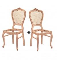 Masifart Silva Hasırlı Klasik Oymalı Sandalye 2 li Cilasız Ahşap 4548