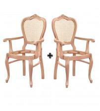 Masifart Maior Hasırlı Klasik Oymalı Kollu Sandalye 2li Ham Ahşap 4549