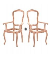 Masifart Caseus İtalyan Oymalı Kollu Sandalye 2 li Ham Ahşap 4553