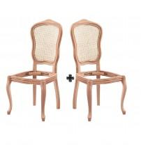 Masifart Caulis Hasırlı İtalyan Sandalye 2 li Cilasız Ham Ahşap 4554