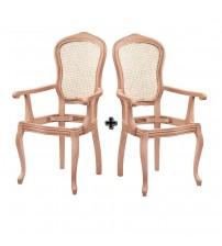 Masifart Chromium Hasırlı İtalyan Kollu Sandalye 2 li Cilasız Ahşap 4555