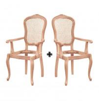 Masifart Corpus Hasırlı İtalyan Oymalı Kollu Sandalye 2 li Ham 4557