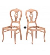 Masifart Bristol Klasik Kontralı Sandalye 2 li Cilasız Ham Ahşap 4570