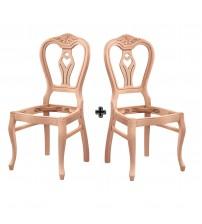Masifart Chester Klasik Kontralı Oymalı Sandalye 2 li Cilasız Ahşap 4571