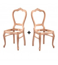 Masifart Lichfield Ayak Oymalı Klasik Sandalye 2 li Cilasız Ahşap 4572