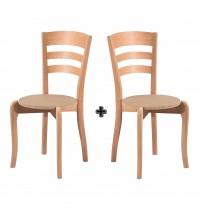 Masifart Asır Üç Tepeli Sandalye 2 li Cilasız Ham Ahşap 4578