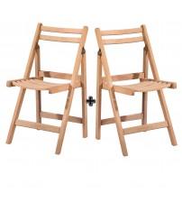 Masifart Cesena Katlanır Sandalye 2 li Cilasız Ham Ahşap 4581