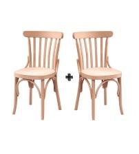 Masifart Atien Çıtalı Tonet Sandalye 2 li Cilasız Ham Ahşap 4595
