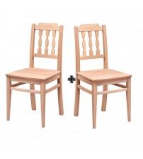 Masifart Torino Izgaralı Çıtalı Sandalye 2 li Cilasız Ham Ahşap 4598