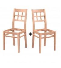 Masifart Palaris Kareli Kasnaklı Sandalye 2 li Cilasız Ham Ahşap 4601