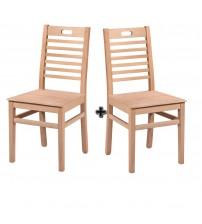 Masifart Spira Tutmalı Izgaralı Sandalye 2 li Cilasız Ham Ahşap 4602