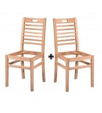 Masifart Regia Tutmalı Kasnaklı Sandalye 2 li Cilasız Ham Ahşap 4603
