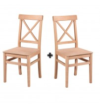 Masifart Martis Çapraz Izgaralı Sandalye 2 li Cilasız Ham Ahşap 4604