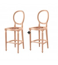 Masifart Medicus Tornalı Bar Sandalye 2 li Cilasız Ham Ahşap 4629