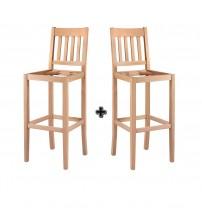 Masifart Waerm Çıtalı Kasnaklı Bar Sandalye 2 li Cilasız Ham 4638