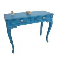 Masifart Marie 120 cm Mavi Eskitme Dresuar Çekmeceli Makyaj Masası Patine Boyalı