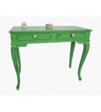 Masifart Latus 100 cm Yeşil Eskitme Dresuar Çekmeceli Makyaj Masası Patine Boyalı