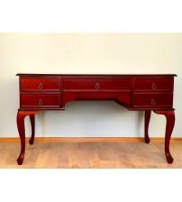 Masifart Oymalı Klasik Çalışma Masası 140 cm Kızıl Ceviz