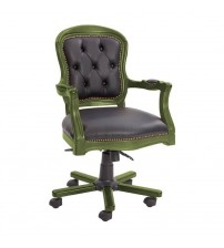 Masifart Antik Yeşil Ahşap Klasik Ofis Koltuğu Kapitoneli Çalışma Koltuğu