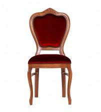 Masifart Putridus Klasik Oymalı Sandalye Ceviz Kırmızı Kadife