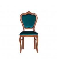 Masifart Putridus Klasik Oymalı Sandalye Ceviz Turquaz kadife