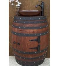 Masifart Şarap Fıçısı Stil Lavabolu Kapaklı Banyo Dolabı