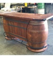 Masifart Şarap Fıçısı Çiftli Mini Bar Ağaç Tablalı