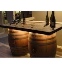 Masifart Şarap Fıçısından Kontbüfe Tablalı Masa