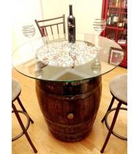 Masifart Şarap Fıçısı Camlı Dolaplı Dik Masa