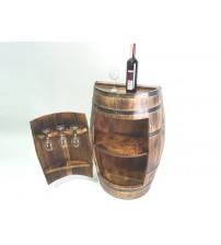Masifart Yarımay Kapaklı Fıçı Mini Bar Yakarak eskitme